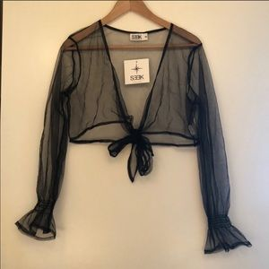 SEEK black mesh wrap around top